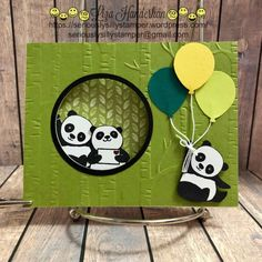 Today I'm sharing my latest Panda Project with you. I've called it a window wiper card. (I can't even tell you how many times I've said windshield wiper … Fancy Fold Cards, Folded Cards, Baby Cards, Kids Cards, Panda Party, Karten Diy, Kids Birthday Cards, Panda Birthday, Stamping Up Cards