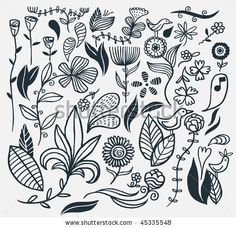stock vector : A hand drawn flower set. Vector illustration.