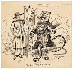 This cartoon depicts the two big winners on Election Day, 1917, in New York. Voters adopted a woman suffrage amendment to the state constitution, a measure backed by Tammany Hall, New York City's Democratic political machine. On the same day, Democrat John F. Hylan defeated both the Republican Mayor of New York City, John Purroy Mitchel, and Socialist candidate Morris Hillquit. The victory was a major triumph for Tammany Hall, here represented by the proud Tammany Tiger.
