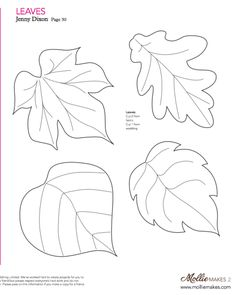 Nice templates for leaves! Mollie makes, Felt Leaf Template--cut out of craft foam to make stamp or embossing plate. Wool Applique, Applique Patterns, Craft Patterns, Felt Patterns Free, Pattern Ideas, Felt Flowers, Paper Flowers, Paper Butterflies, Craft Flowers