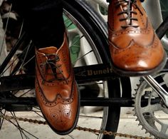 Cognac Wingtips in vintage leather. Join us on Facebook - https://www.facebook.com/Johnandmario