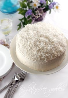 Gluten-free Coconut Layer Cake. #food #GF #cakes #desserts