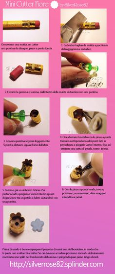 Diy :Mini cutter tutorial 3 (flower) Polymer Clay Tools, Polymer Clay Miniatures, Fimo Clay, Polymer Clay Charms, Polymer Clay Projects, Clay Crafts, Dollhouse Tutorials, Miniature Crafts, Clay Tutorials