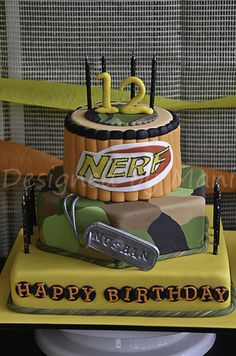 """NERF"" inspired birthday cake - by designed by mani @ CakesDecor.com - cake decorating website"