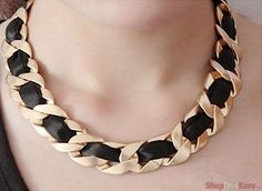 Gold Chain Ribbon Necklace
