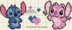 pixel art lilo y stitch Lilo And Stitch 2002, Lilo Y Stitch, Cross Stitch Patterns Free Disney, Cross Stitch Designs, Cross Stitch Books, Cross Stitch Baby, Stitch Et Angel, Lelo And Stich, Stitch Disney