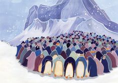 Emma  Randall  Illustration - emma, randall, emma randall, commercial, trade, editorial, cute, sweet, young, fiction, picture book, greetings cards, paint, painting, digital, photoshop, illustrator, penguins, winter, snowing, snow flakes, mountains, cold, chilly, friends, group, animals, ice bergs