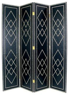 Pattern!!!!! - Black Diamond Leather Room Divider with Nail Head Design modern screens and wall dividers