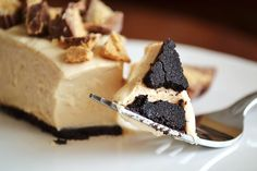 "Peanut Butter Pie with Oreo Crust (secret: It's made easy and healthy with Greek yogurt!) and...no baking! Yeah, I know, I pinned it to Baked Goods...I don't have an ""Even though it looks like a baked good, this is not a Baked Good"" Board..."
