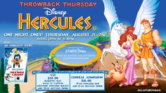 1 week until our 10th Throwback Thursday! Just Announced - special guests Ron Clements, Andreas Deja & Susan Egan for #HERCULES at The El Capitan Theatre!     Plus, before the movie the animated short The Olympic Champ, featuring Goofy!  One night only! Thursday, August 21st at 7:00PM – Doors will open at 5:30PM.  Arrive early to get a raffle ticket for a chance to win prizes! For Tickets call 1-800-DISNEY6 or go to www.elcapitantickets.com! #ELCAPTHROWBACK #HERCULES #TBT