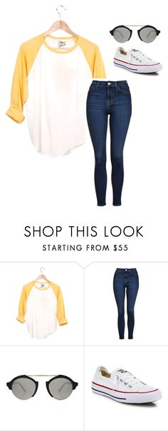 """""""Just got done with a Forest Highschool baseball game!"""" by annaewakefield ❤ liked on Polyvore featuring Camp Collection, Topshop, Illesteva and Converse"""