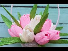 ABC TV | How To Make Valentines Tulip basket From Crepe Paper - Craft Tutorial - YouTube