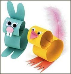 Easterbunny and chicken made of toilet paper rolls...:
