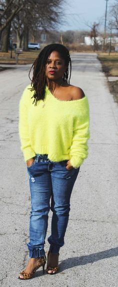 Near Spring Outfit Idea: Neon Sweater & Denim Jogger… – Nzuri N* Simplicity Off Shoulder Blouse, Off The Shoulder, James Baldwin, Denim Joggers, Leopard Heels, S Man, Spring Outfits, My Girl, Neon