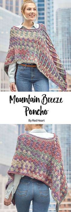 Mountain breeze poncho free crochet pattern in Dreamy Stripes. Crochet a poncho with a modern twist thanks to the soft, brushed look of this innovative shaded yarn. You'll love the interesting textural stitches and easy-to-wear shape of this wonderfully designed poncho.