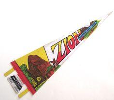 Zion National Park Pennant, Vintage Souvenir Felt Flag from Utah by planetalissa on Etsy
