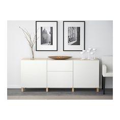 БЕСТО Комбинация для хранения с ящиками - под беленый дуб/Лаппвикен белый, направляющие ящика, плавно закр - IKEA