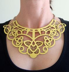 Yellow leather necklace - laser cut lace design - by EmilydeMollyon Etsy (65$)