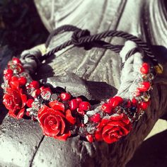 Roses necklace red hand made gray elegant vintage roses