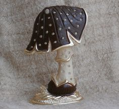 Torino Mushroom Shaped Earring Holder Vintage- gold, white, and brown color.   Use #coupon code SPECIALSALE today in my Etsy shop to save 15%