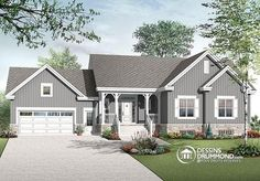 Color version 2 - Front 6 bedrooms Transitional style Bungalow house plan, 2 family rooms, computer area, Ranch style home - Primrose 2 Family House Plans, Bedroom House Plans, House Floor Plans, Style At Home, Country Style House Plans, Craftsman Bungalow House Plans, Craftsman Bungalows, Craftsman Ranch, Drummond House Plans