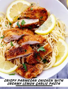 Prep time 15 mins Cook time 15 mins Total time 30 mins Crispy, tender and juicy parmesan crusted chicken over the most incredible creamy lemon garlic pasta! This is a must make meal! Serves: 4 Ingredients 2 Chicken Breasts, sliced in half 6 Lemon Garlic Pasta, Lemon Chicken Pasta, Creamy Lemon Chicken, Parmesan Crusted Chicken, Easy Dinner Recipes, Great Recipes, Amazing Recipes, Healthy Dishes, Healthy Recipes