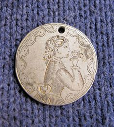 Antique Love Token Hand Engraved Victorian Girl with Nosegay Nickel Size