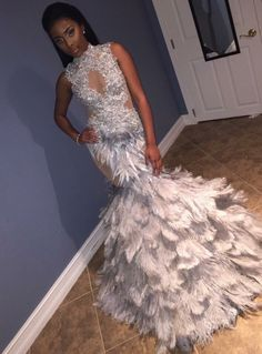 Shop from the best fashion sites and get inspiration from the latest feathers mermaid prom dress. Prom Girl Dresses, Prom Outfits, Mermaid Prom Dresses, Homecoming Dresses, Wedding Dresses, Elegant Dresses, Beautiful Dresses, Feather Prom Dress, Prom Goals