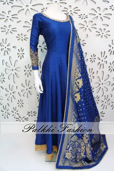 PalkhiFashion Exclusive Full Flair Blue Silk Outfit with Banarasi Duppata