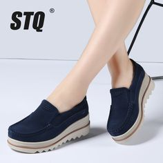 STQ 2018 Spring women flats shoes platform sneakers shoes leather suede casual shoes slip on flats heels creepers moccasins 3088-in Women's Flats from Shoes on Aliexpress.com | Alibaba Group