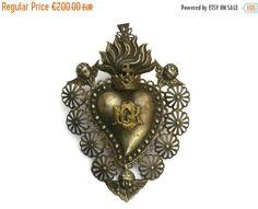 10% Off Antique Silver Heart Ex-Voto. Silver by LeBonheurDuJour