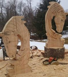 Chainsaw carving horse related sculpture wood art wood
