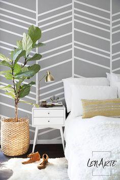 Herringbone Wallpaper - Modern Pattern - White and Gray Wallpaper - Removable Wallpaper - Wall Decor - Wall Decal - Wall Mural - 68