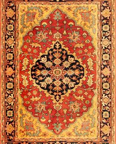Rug from Heriz collection. Classic Persian styling with grand, characteristic motifs woven into a dense wool pile. The depth and intensity of the warm rich color palette and bold patterns is reminiscent of the finest antique Heriz rugs. Hallway Carpet Runners, Cheap Carpet Runners, Stair Runners, Beige Carpet, Patterned Carpet, Persian Carpet, Persian Rug, Ancient Persia, Art Deco Pattern