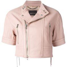 Diesel Black Gold Short-Sleeve Biker Jacket (1,250,695 KRW) ❤ liked on Polyvore featuring outerwear, jackets, lambskin leather jacket, lamb leather jacket, pink biker jacket, motorcycle jacket and diesel black gold