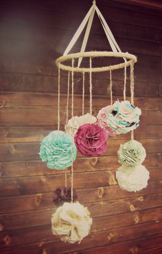 Fabric pom pom chandelier