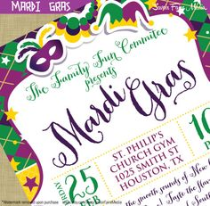 Mardi Gras Flyer Invitation Postcard Poster Template Church School Community Fundraiser Marketing Invitation New Orleans Masquerade Ball by sfmprintables