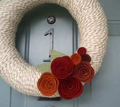 By Itz Fitz @ Etsy Yarn Wreath Felt Handmade Door Decoration - Lovely 12in https://www.etsy.com/listing/62662453/yarn-wreath-felt-handmade-door?ref=shop_review
