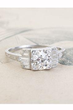 Erica Weiner Art Deco Kilim Diamond Engagement Ring, $6,800, available at Erica Weiner.