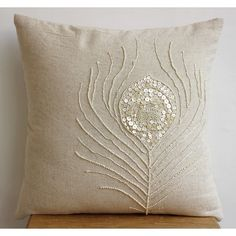 New Pearly Peacock Feather Cotton Linen Cushion Cover, 40x40 cm