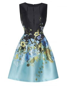 Embroidered Vintage Fit and Flare Dress - BLUE L