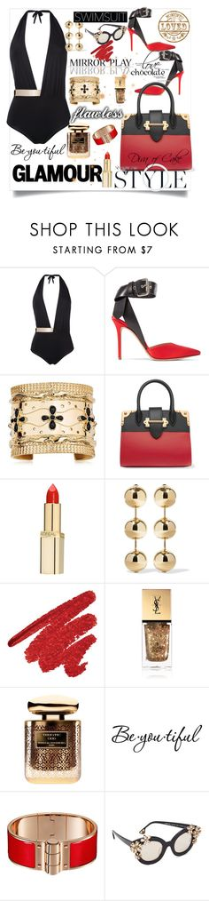 """Sexy swimsuit Diva black  red  and gold 💕💕♡♡🤗"" by kercey ❤ liked on Polyvore featuring MOEVA, Monse, Aurélie Bidermann, Prada, L'Oréal Paris, Balenciaga, Yves Saint Laurent, By Terry, Schone and Alice + Olivia"