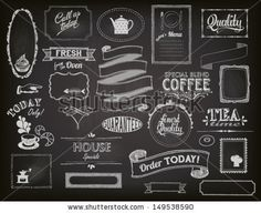 Chalkboard Ads, including frames, banners, swirls and advertisements for restaurant, coffee shop and bakery by LanaN, via Shutterstock