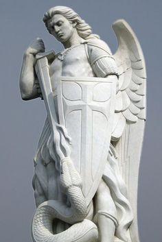 Saint Michael, Patron Saint of Law Enforcement - saw this statue in Paris St. Michael Tattoo, Archangel Michael Tattoo, Saint Michael Statue, St Michael, Angels Among Us, Angels And Demons, Statue Ange, Angel Warrior, Saint Michel