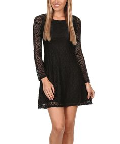 Look what I found on #zulily! Black Lace-Overlay A-Line Dress by Rebellion #zulilyfinds
