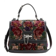 Dolce & Gabbana Monica Small Embroidered Leather Tote (£1,680) ❤ liked on Polyvore featuring bags, handbags, tote bags, purses, black, black tote, black tote purse, leather handbags, hand bags and leather tote bags