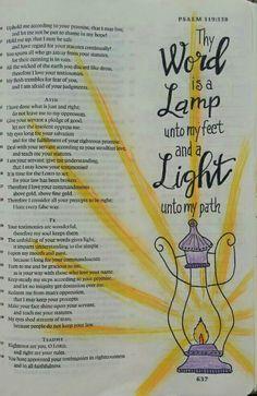 Thy Word is a Lamp Unto my feet - Bible art journaling by @peggythibodeau www.peggyart.com