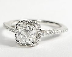 Cushion Cut Halo Diamond Engagement Ring in 18K White Gold