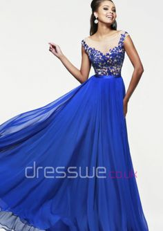 2015 Captivating Chiffon Bateau Neckline Appliques Empire Waist Column Floor Length Formal Cheap Long Prom Dress