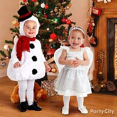 Super-cute kids Christmas costume ideas! The littlest snowman and the sweetest angel will spread joy at your holiday parties and events. Shop more ideas: partycity.com/category/holiday+parties/christmas+party+supplies/baby+kids+christmas+costumes.do